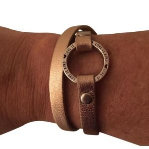 Jewelry - Rose gold leather dual strap silver bracelet 7.5